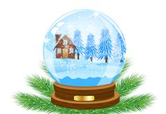 Festive ball with winter landscape inwardly Stock Illustration