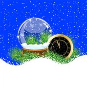 glass ball and clock with the branches of fir-tree on to snow - stock illustration