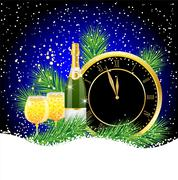 clock and champagne with the branches of fir-tree on to snow - stock illustration