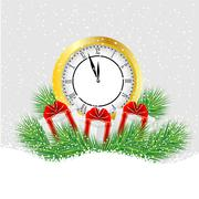 Clock and gifts with the branches of fir-tree on to snow Stock Illustration