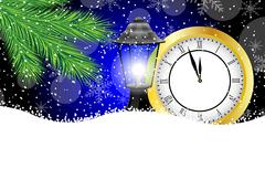 clock and lantern with the branches of fir-tree on to snow - stock illustration