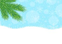 branch of fir-tree, blue sky and snow - stock illustration