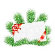 greeting-card on the green branches of christmas tree - stock illustration