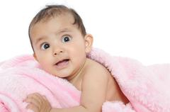 closeup of a beautiful indian baby/kid. - stock photo