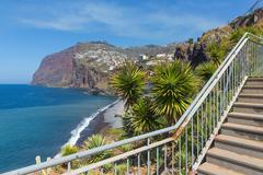 Beautiful coast of madeira island with hiking trai Stock Photos