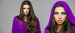 Two young sexy women in purple  tunic arabic Stock Photos