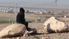 Girl at Khanke Refugee Camp - stock footage