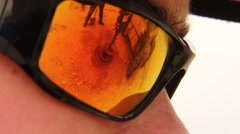 Sunglasses reflect Construction - stock footage