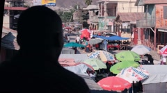 Pan over Haitian Market - stock footage