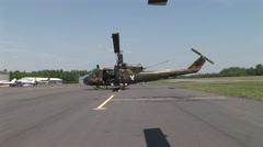 Huey helicopter gunship starts up Stock Footage