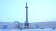 Christmas tree on Palace Square.St. Petersburg. Russia Stock Footage