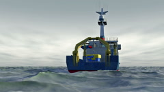 Research ship on choppy sea with overcast sky, 3D animation Stock Footage
