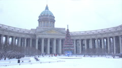 Kazan Cathedral in winter. St Petersburg. Russia..eps Stock Footage