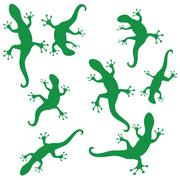 silhouettes of salamander - stock illustration