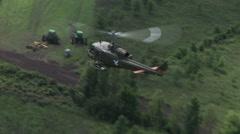 Huey Gunship flies - stock footage