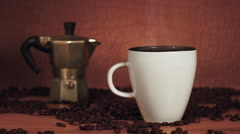 Instant coffee in a lovely brown background Stock Footage