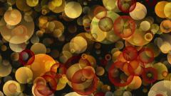 Warm Round Shapes in Chaotic Arrangement. Bokeh backgrounds motion Stock Footage