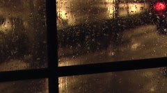 Night Rain On The Window With Thunder Stock Footage
