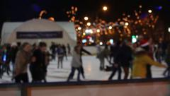 Sport and leisure. People on night skating rink Stock Footage