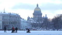 View of St. Isaac's Cathedral in the snow in the winter Stock Footage
