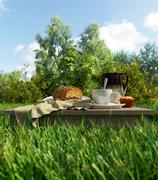 Coffee cup and bread picnic vacation relaxing concept stilllife Stock Photos