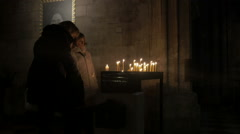 Vienna Stephen's Cathedral candles _1 Stock Footage
