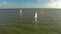 Aerial view of wind surfers at Hobie Beach on Rickenbacker Causeway Stock Footage