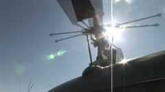 Helicopter rotor turns in the sun Stock Footage