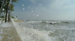 4K / HD Hurricane Storm Surge Waves Crash Into Camera - stock footage