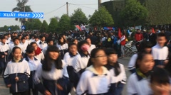 Athletes runtime in footrace, Asia Stock Footage