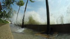 4K / HD Hurricane Storm Surge Waves Crash Into Sea Wall Stock Footage