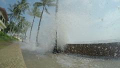 4K / HD Hurricane Storm Surge Waves Crash Into Sea Wall - stock footage