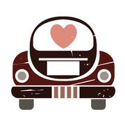 Just married car Stock Illustration