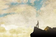 Male figure on top of a mountain. Vintage style Piirros
