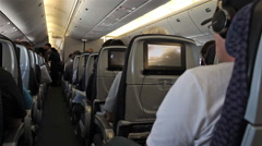 Passenger cabin airline flight across country HD 3912 Stock Footage
