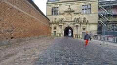 Walking on cobblestones - stock footage