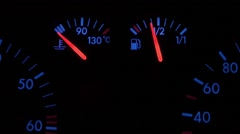 car dash at the ignition. The error is not enough cooling fluid - stock footage