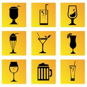 Stock Illustration of beverage cup button icons