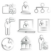sketched business icons - stock illustration