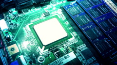 Inside View of Computer Main Board with CPU Stock Footage