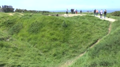 Bomb craters on the Pointe du Hoc, Normandy, France. Stock Footage