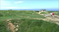 General view over the Pointe du Hoc, Normandy, France. Stock Footage