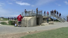 Concrete gun emplacement on the Pointe du Hoc, Normandy, France. Stock Footage
