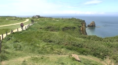 The cliffs on Pointe du Hoc, Normandy, France. Stock Footage