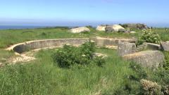 Open concrete gun emplacement on the Pointe du Hoc, Normandy, France. Stock Footage