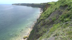 The cliffs close to Pointe du Hoc, Normandy, France. Stock Footage