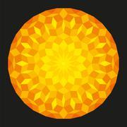 Sun from a Penrose Pattern On Black Background - stock illustration