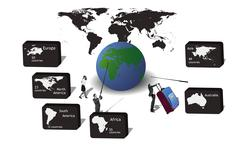 icons for travel continents - stock illustration