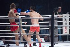 Moscow - march 28: alexander mischenko and timur aylyarov on fights tournamen Stock Photos