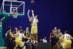 turkish airlines euroleague game budivelnik vs fenerbahce ulker - stock photo